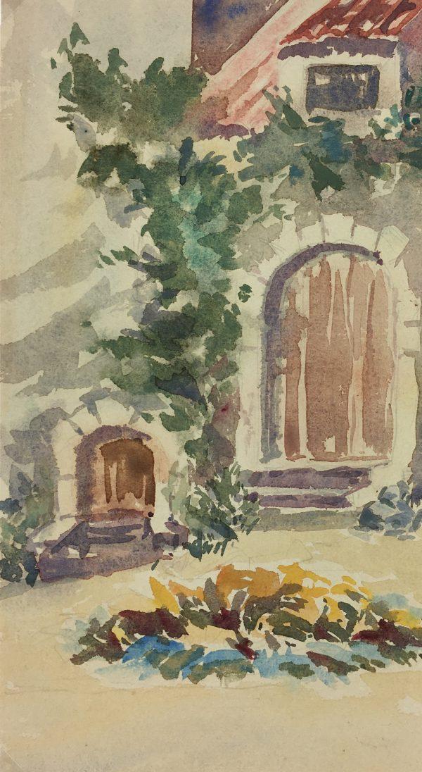 France Original Art - French Watercolor - Courtyard, c.1920