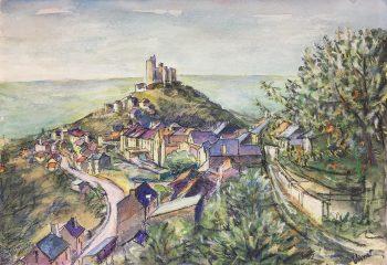 France Original Art - Hill Top Castle, Vivent, c.1980