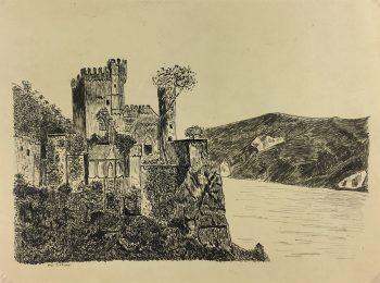 France Original Art - Castle, Max Dahaux, c.1930