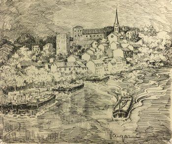 France Original Art - Riverside Town, Vargas, c.1970