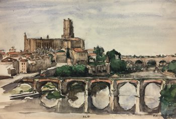 France Original Art - Albi, France, P.V., 1950