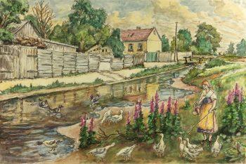 France Original Art - Watercolor - Douce France, c.1960