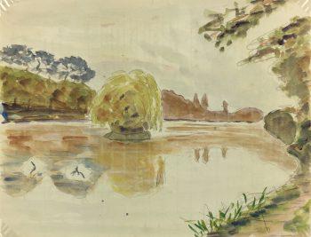 Great Britain/UK Original Art - Watercolor - English Park, c.1930