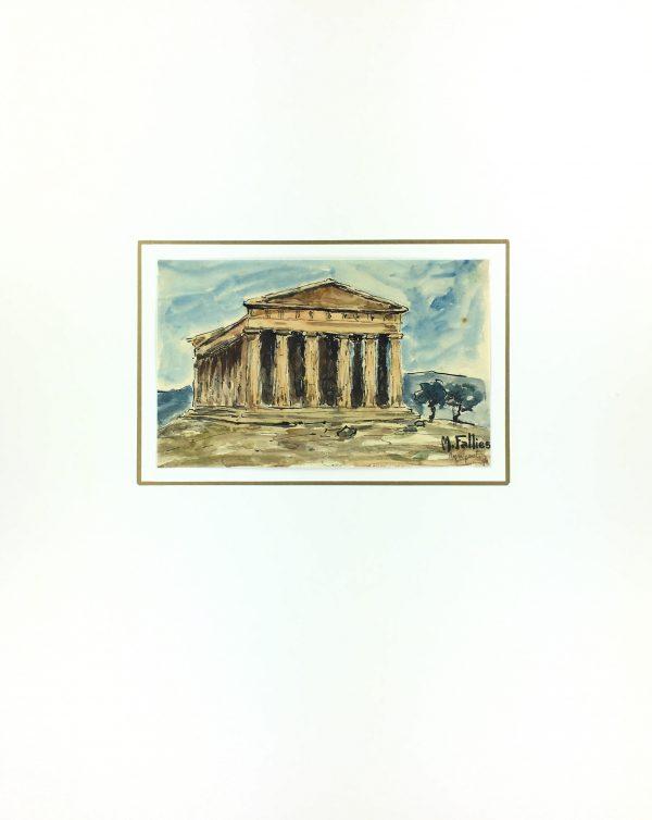 Italy Original Art - Agrigento, Sicily, Maurice Falliés, c.1950
