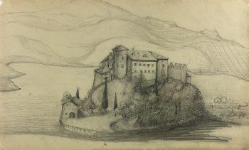 Italy Original Art - Castel Toblino, Italy, E. Wollenweber, 1890