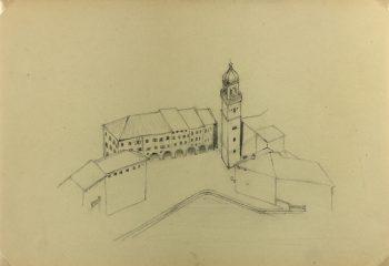 Italy Original Art - Italian Town, E. Wollenweber, c.1890