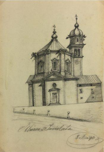 Italy Original Art - Chiesa Inviolata, E. Wollenweber, 1890