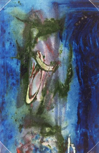 Abstract Modern Original Art - Blue-Green Abstract, French, 2000