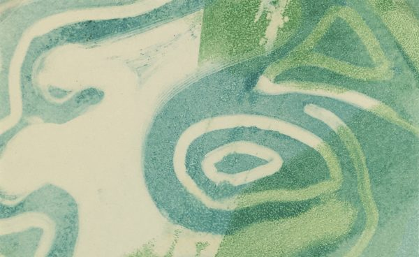 Abstract Modern Original Art - Aqua Swirls, Kismine Varner, c.1980
