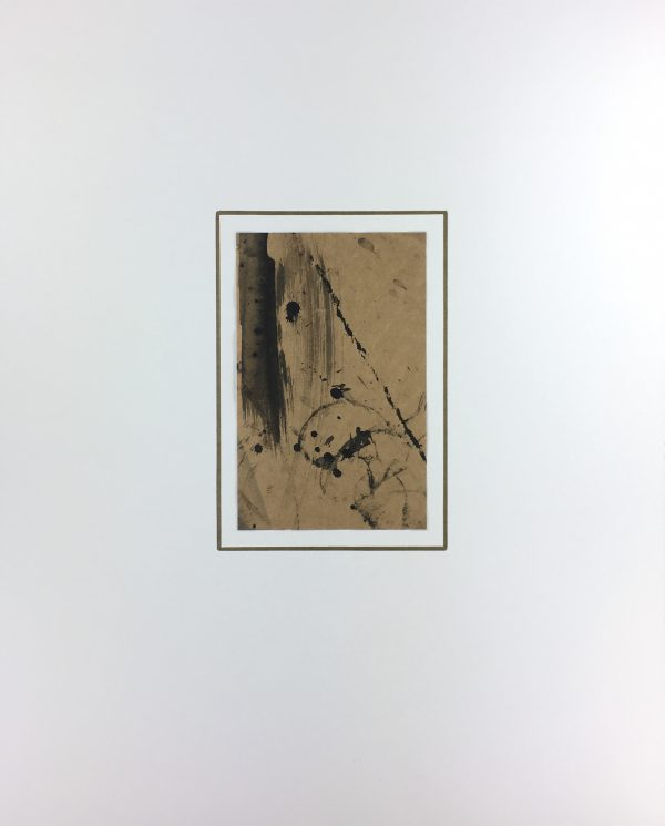 Abstract Modern Original Art - Black on Brown, K. Varner, c.1990