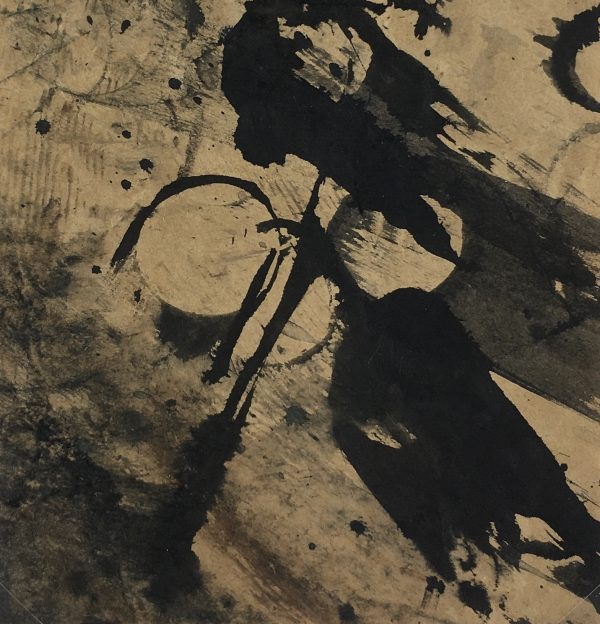 Abstract Modern Original Art - Black on Brown, K. Varner, c.1990