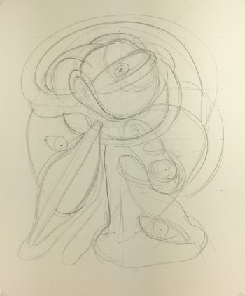 Abstract Modern Original Art - Abstract Drawing, Kismine Varner, c.1990