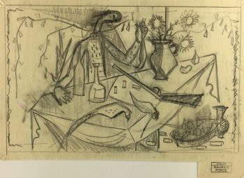 Abstract Modern Original Art - Abstract Drawing, Maurice Porte, c.1990