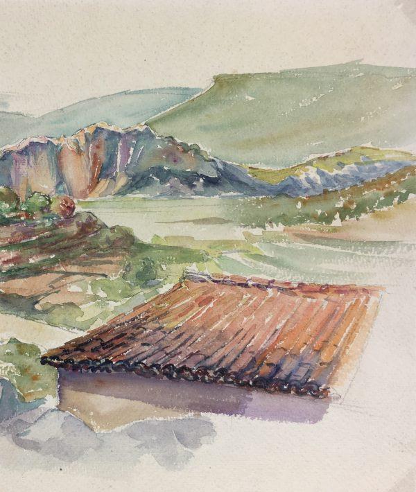 Provence, France Original Art - Évenos, Provence, c.1950