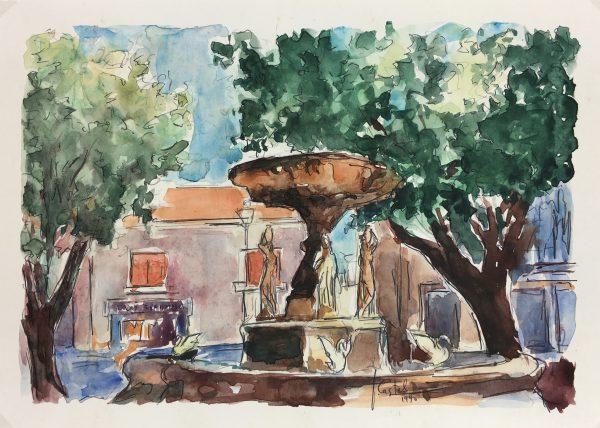 Provence, France Original Art - Provence Fountain, Castel, 1990