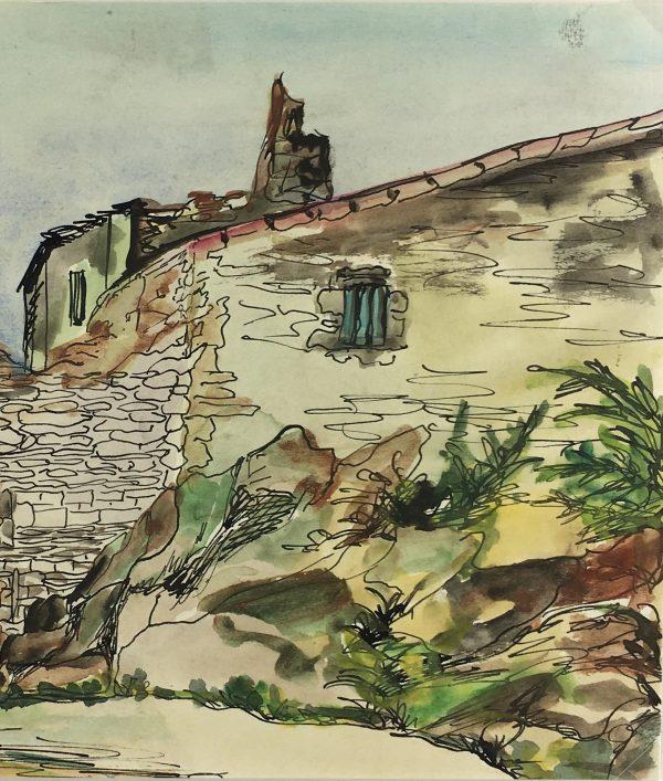 Provence, France Original Art - Ink/Watercolor - Provence, c.1960