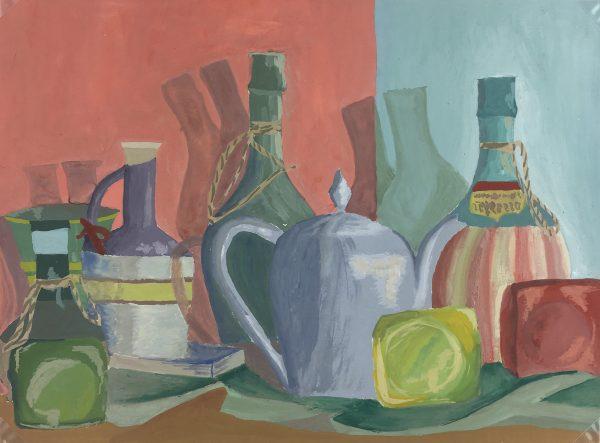 Still Life Original Art - Wine Bottles, French, c.1950