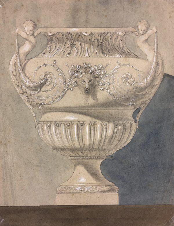 Still Life Original Art - Watercolor Etude - Urn, c.1880