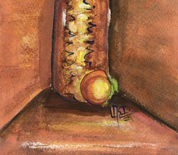 Still Life Original Art - Bottle and Peach, Armando Sanchez (Merida0, 2012