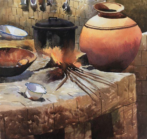 Still Life Original Art - Kitchen, Tinto, Peru, 2012