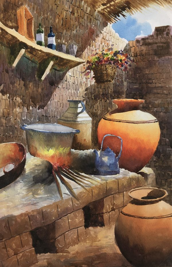 Still Life Original Art - Kitchen, Tinto, Peru, 2012