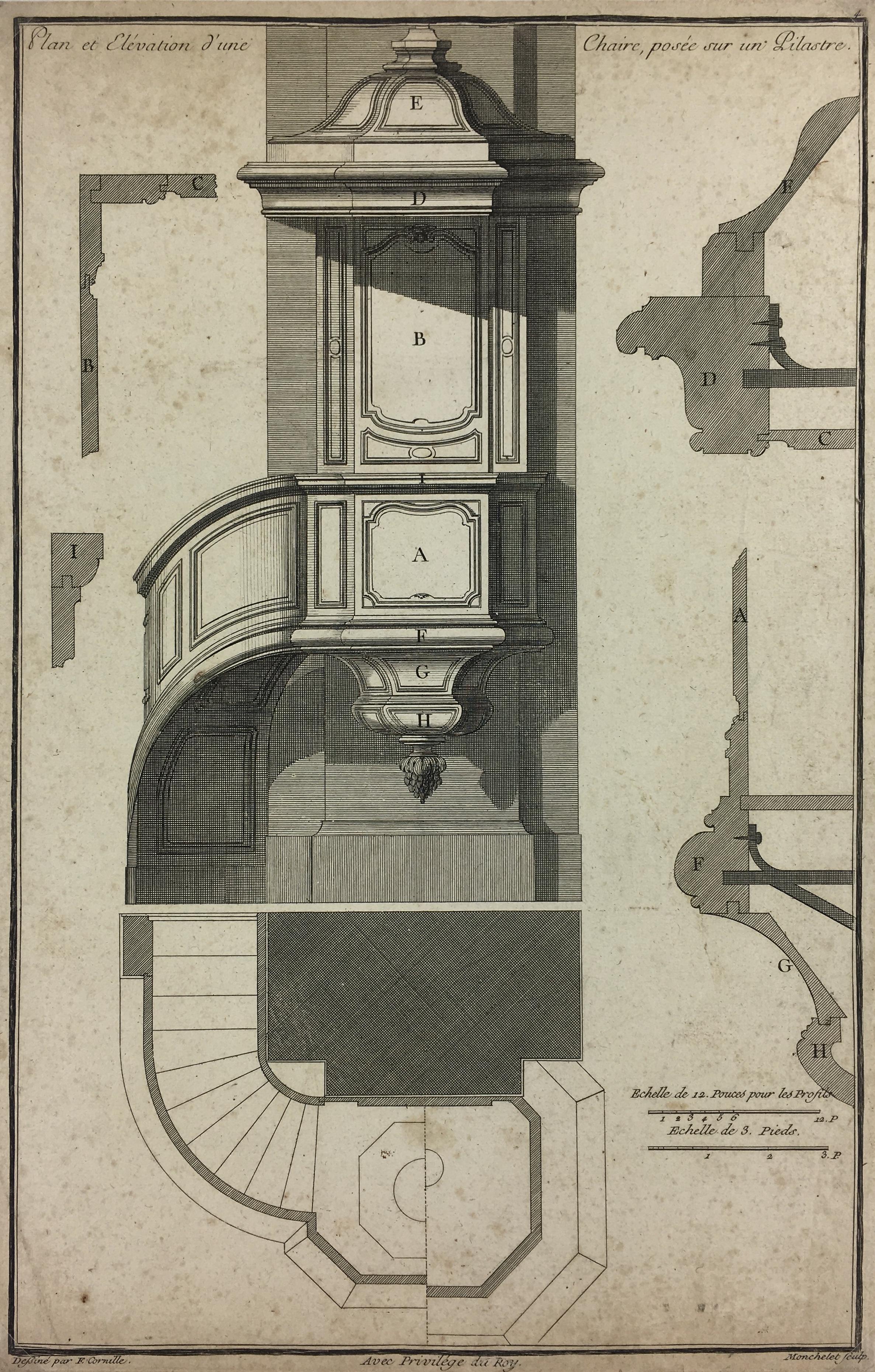 Architecture Print - Architectural Plan, F. Cornille, c.1740