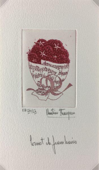 Engravings & Etchings Original Art - Raspberries, Christine Thouzeau, c.1980