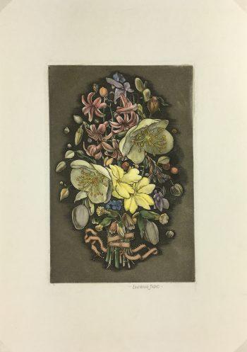 Engravings & Etchings Original Art - Flowers, Lawrence Joseet, c.1980