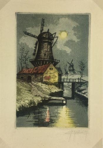 Engravings & Etchings Original Art - Moonlit Windmill, Habridon, c.1930