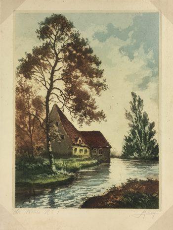 Engravings & Etchings Original Art - Aquatint - Vieure river, Murey, c.1930