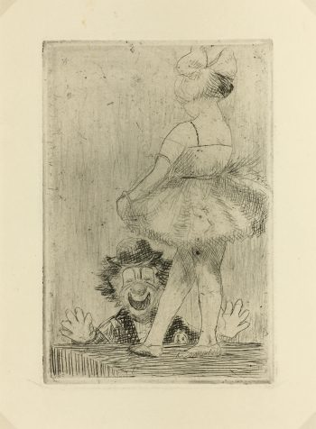 Engravings & Etchings Original Art - Clown, Puce, c.1970