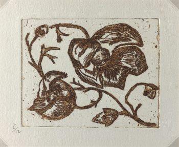 Engravings & Etchings Original Art - Flowers, Puce, C.1970