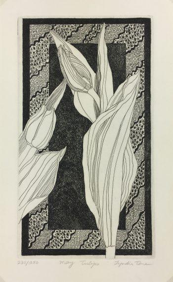 Engravings & Etchings Original Art - May Tulips, Lynda Tone, C.1970