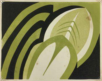 Engravings & Etchings Original Art - Les Feuilles, Stone Lithograph, C.1960