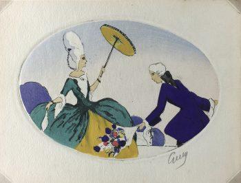 Engravings & Etchings Original Art - Aquatint - Courtship, Guy, C.1930