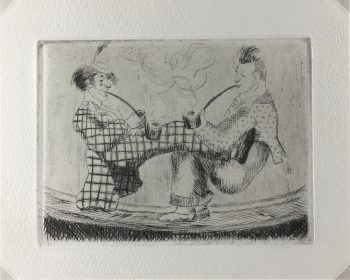 Engravings & Etchings Original Art - Modern, Puce, C.1970