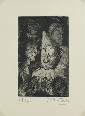 Engravings & Etchings Original Art - Clowns, S. Montarde, 1956
