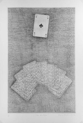 Engravings & Etchings Original Art - Ace of Spades, Etching, 1974