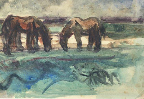 Animals Horses Original Art - Horses, Unica Bachmann-Calcoen (1904-86), C.1950