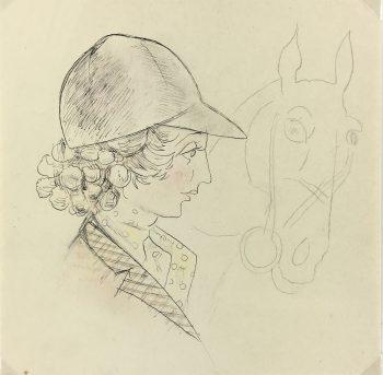 Animals Horses Original Art - Equestrian, C.1950