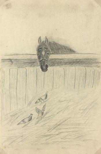 Animals Horses Original Art - Horse and Birds, C.1940