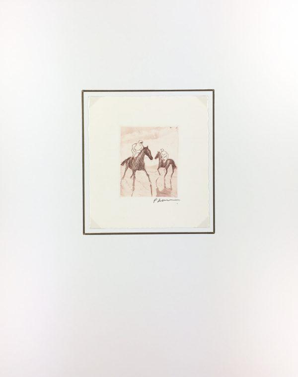 Animals Horses Original Art - Jockeys, P. Sepulce, C.1960