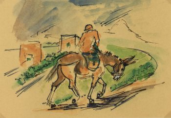 Animals Horses Original Art - Country Ride, I. Kaupisch von Reppert, C.1950