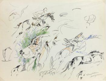Animals Horses Original Art - Equestrian, P. Lagosse (1921-96), C.1950