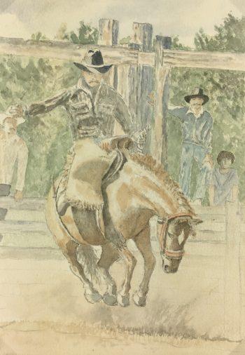 Animals Horses Original Art - Cowboy, C.1960