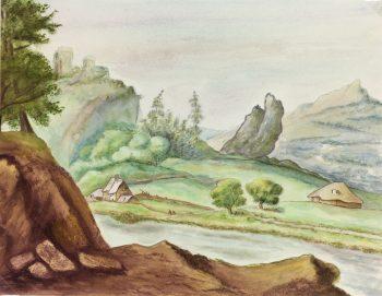 Landscapes Original Art - Landscape, Fischer, c.1960
