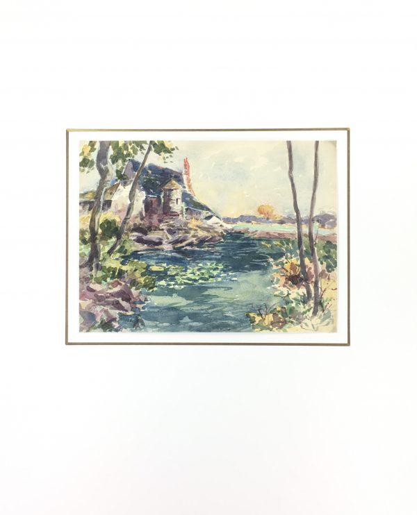 Lakes & Ponds Original Art - Watercolor - Lake, Roger Tochon, C.1930