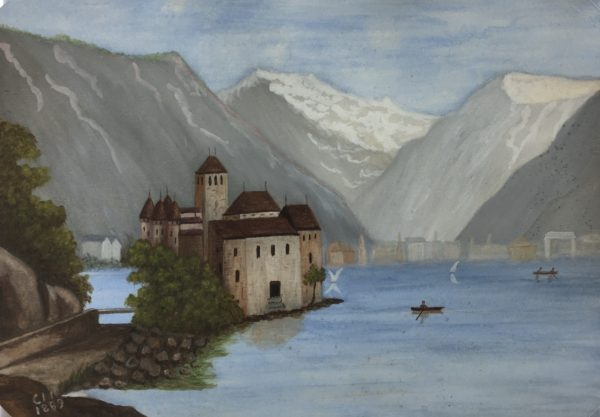 Lakes & Ponds Original Art - Alps Lakeside, Signed, 1889