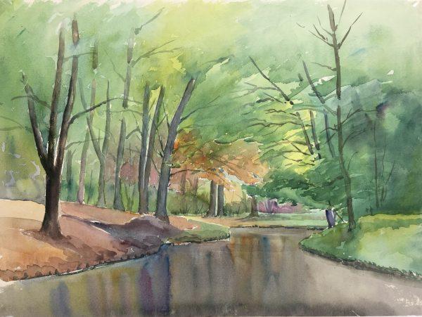 Lakes & Ponds Original Art - Placid Lake, C.1980