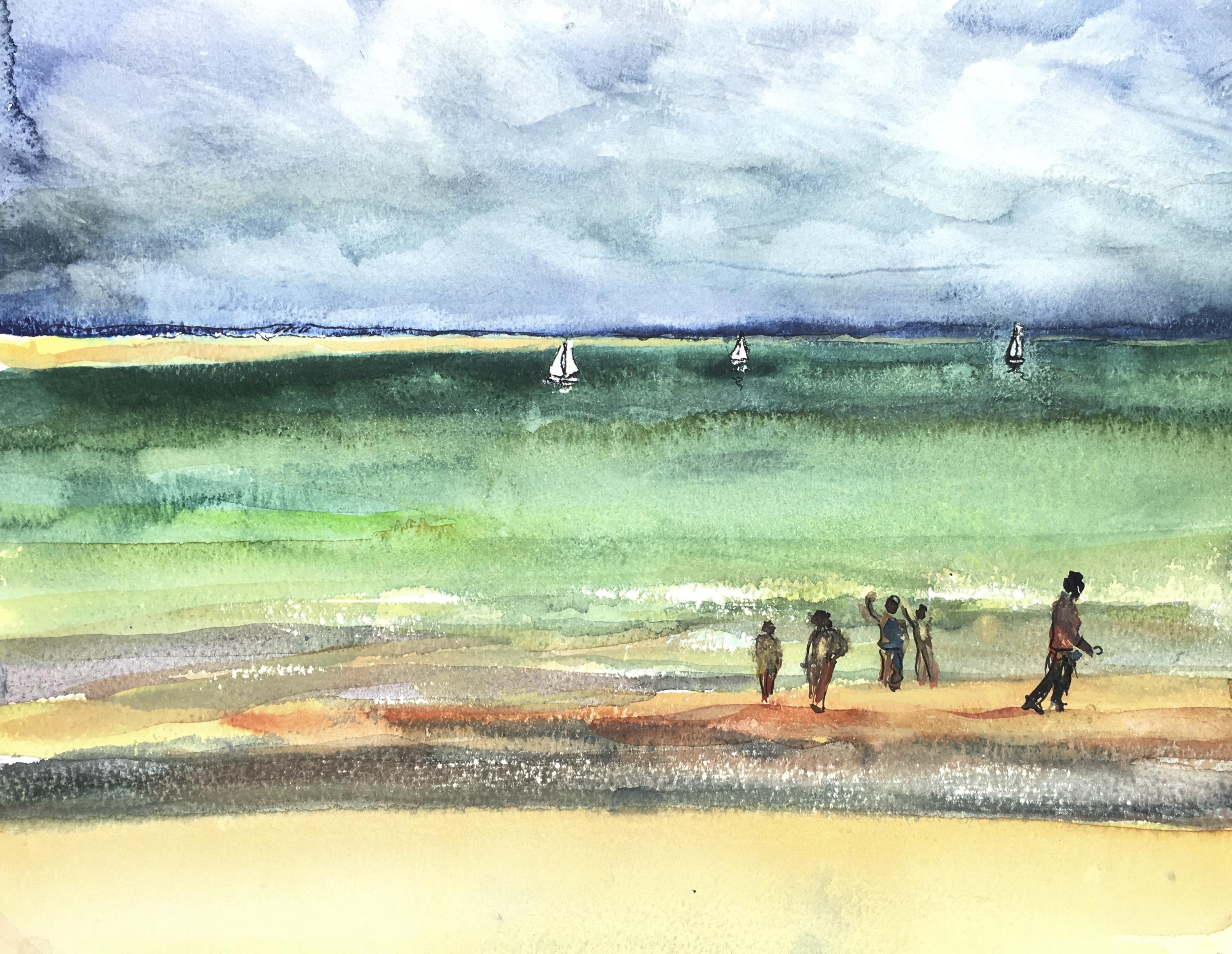 Beach Original Art - Beach, Sailboats, 1971